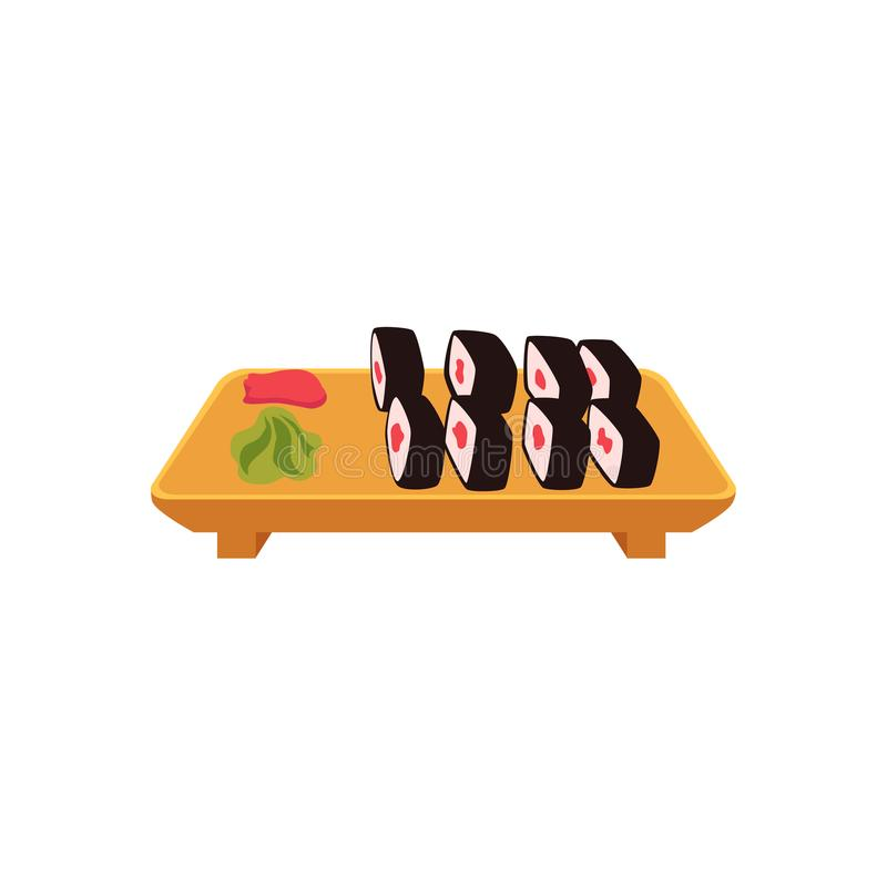 Plate of sushi, maki rolls with ginger and wasabi stock illustration