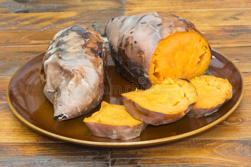 A plate with sweet potatoes royalty free stock photos
