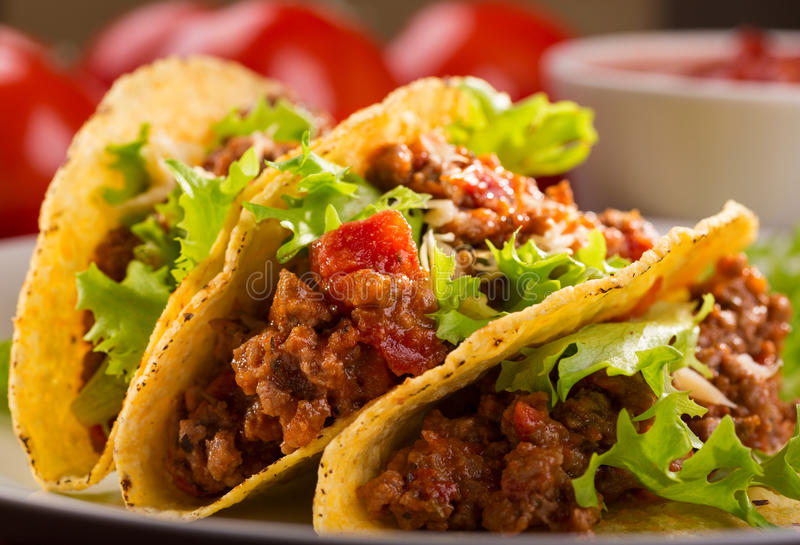 Plate with taco stock image