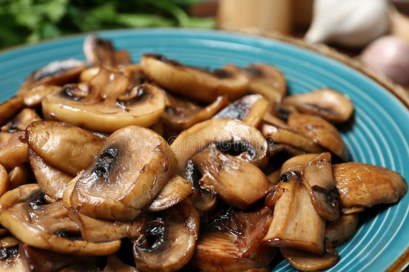 Plate of tasty fried mushrooms stock photos