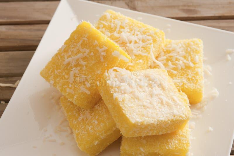 Plate with tasty lemon lamingtons stock image