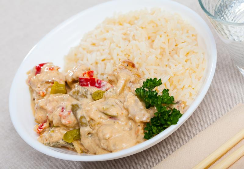 Plate of tasty Thai Red Curry royalty free stock photos