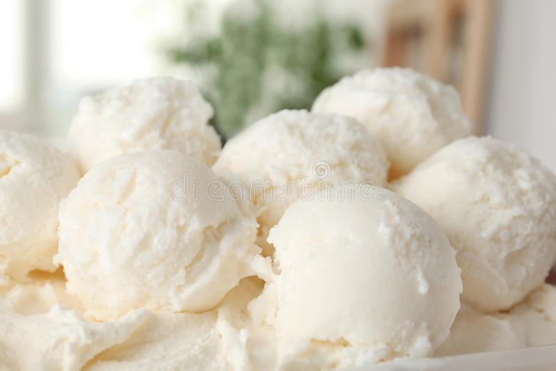 Plate with tasty vanilla ice cream. Closeup royalty free stock photo