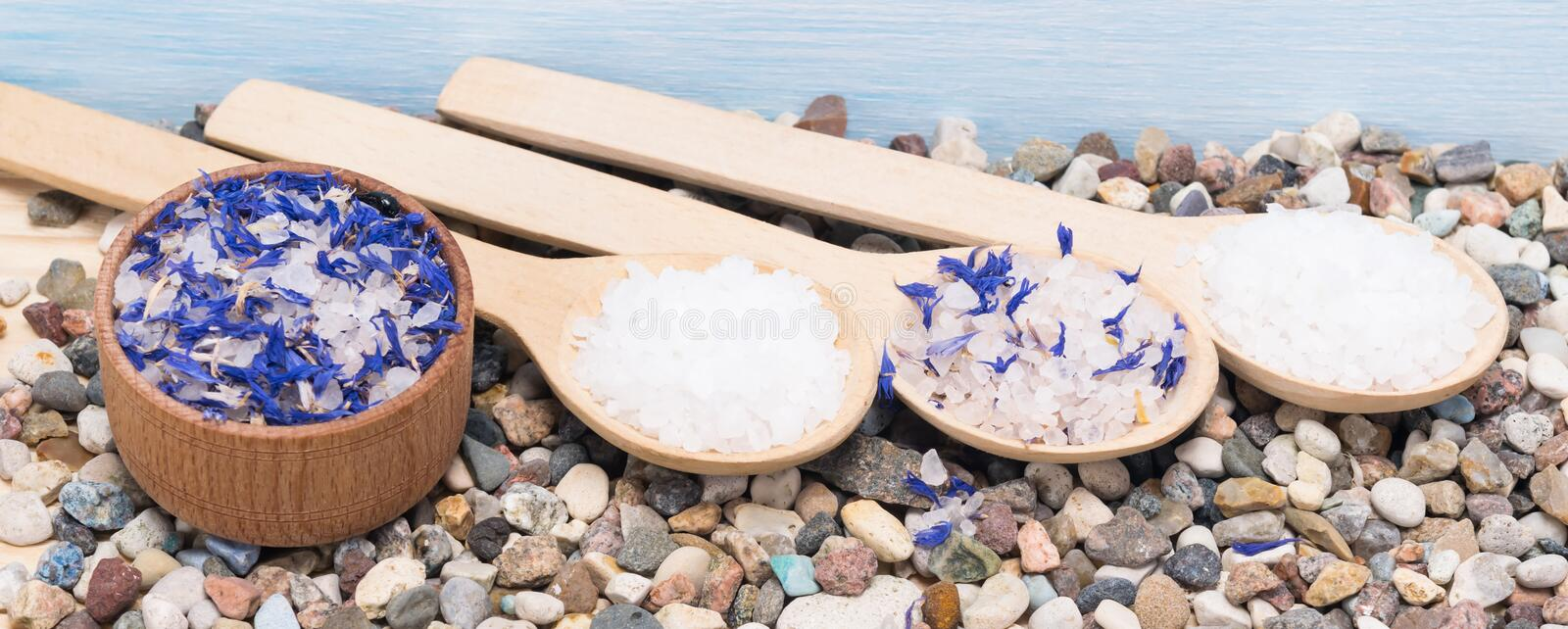 Plate and three wooden spoons with sea salt for spa procedures royalty free stock photos
