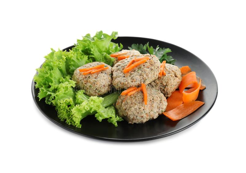 Plate of traditional Passover Pesach gefilte fish on white. Plate of traditional Passover Pesach gefilte fish isolated on white stock photography