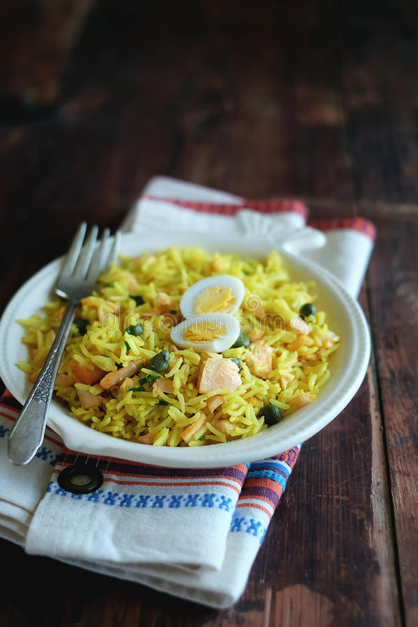 Plate of traditional scottish breakfast dish kedgeree royalty free stock photos