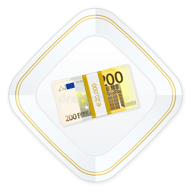 Plate and two hundred euro pack