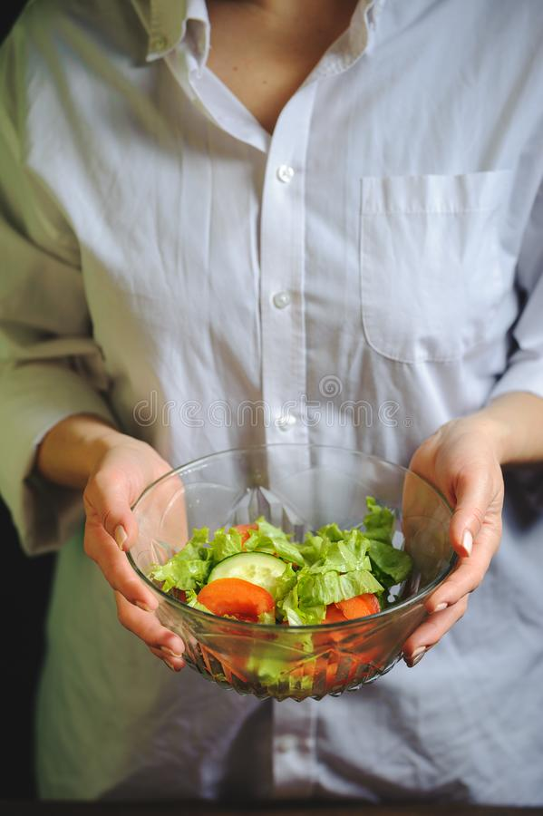 A plate of vegetable salad in the hands of the chef royalty free stock photography