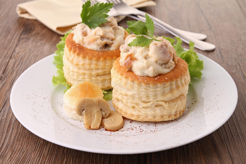 Plate of vol au vent. Gourmet plate of vol au vent royalty free stock image