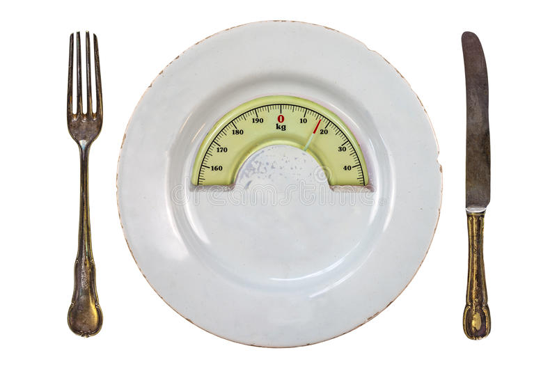 Plate with a weight balance scale. Diet concept royalty free stock photography