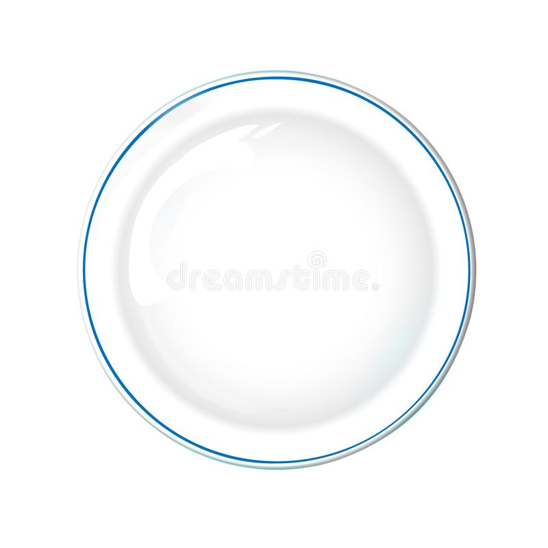 Plate white color with blue border, isolated vector object on a transparent background. Kitchen dishes for food, Illustration. Element for your product, food royalty free illustration