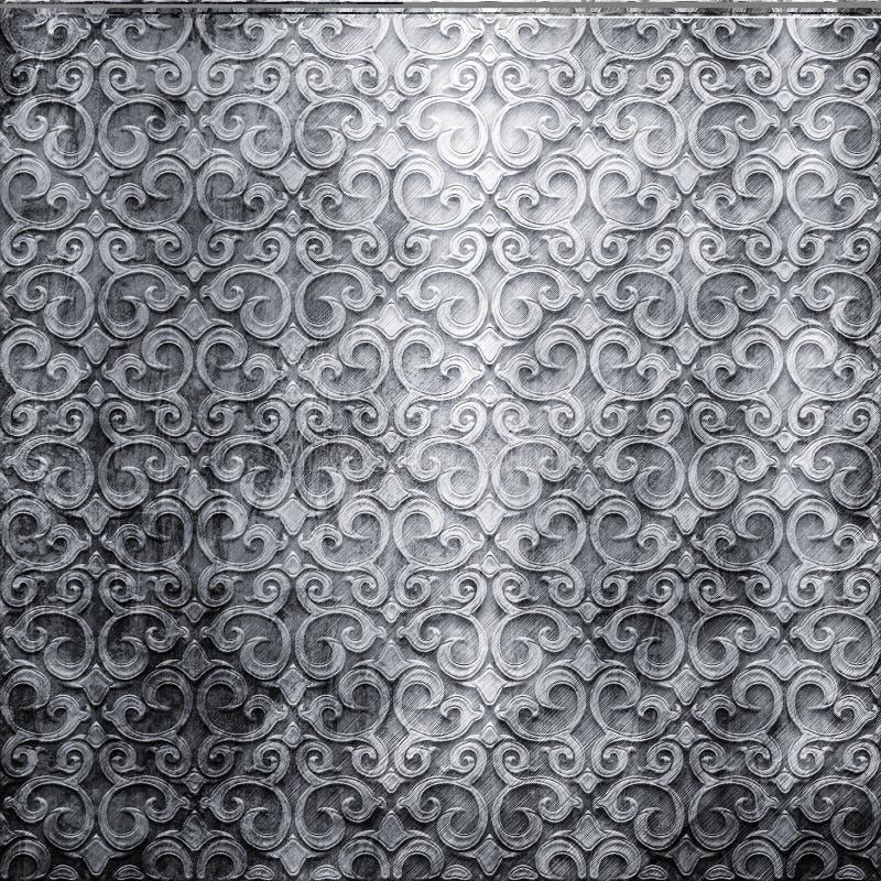 Plateado de metal con el ornamento fotos de archivo
