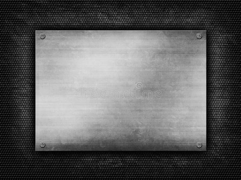Plateado de metal en fondo de la parrilla del grunge foto de archivo