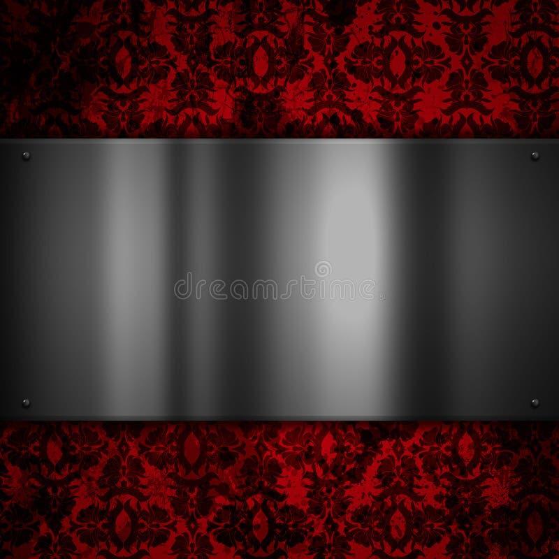 Plateado de metal en un fondo floral del grunge stock de ilustración