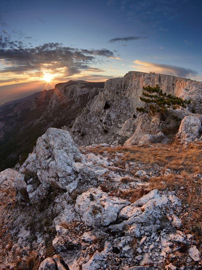 Plateau Ai-Petri in sunset. The magnificent view from plateau Ai-Petri, Crimea stock photos