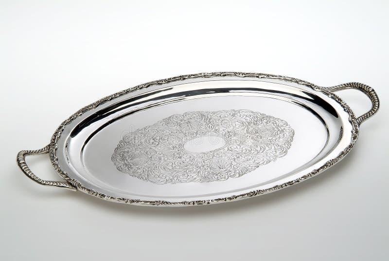 Plateau argenté ovale gravé image libre de droits
