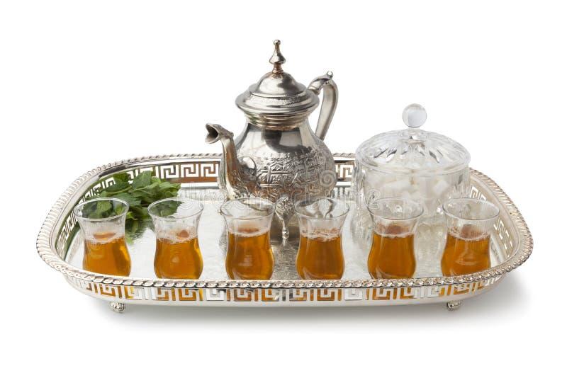 Plateau avec du thé en bon état marocain photos stock