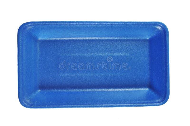 Plateau bleu de nourriture de mousse de styrol image stock