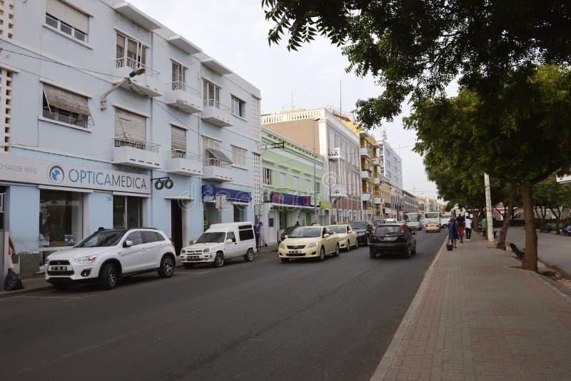 Cape Verde Capital, City of Praia, Plateau District, Santiago Island. In this photo: Plateau main street. Urban center of Praia. Praia city portuguese for Beach stock photography