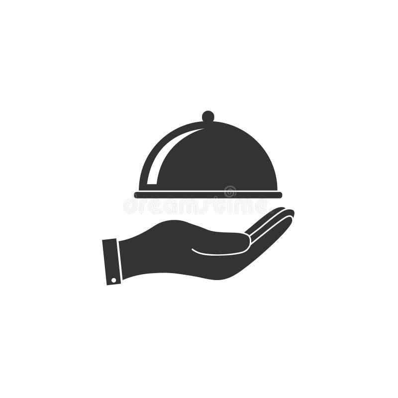 Plateau couvert de nourriture, icône de main Illustration de vecteur, conception plate illustration libre de droits