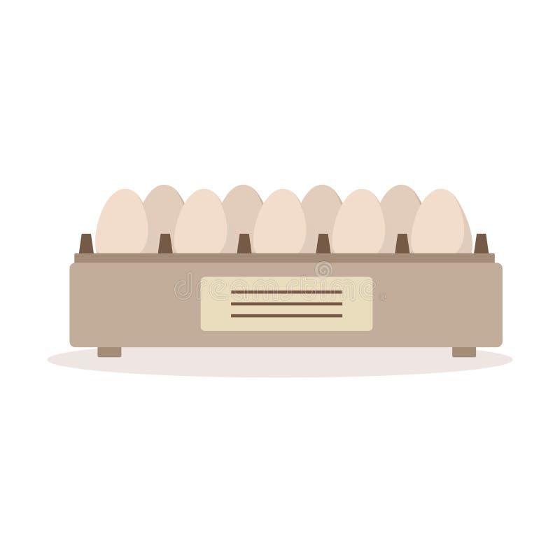 Plateau d'oeufs d'incubateur, illustration de vecteur d'élevage de volaille illustration stock