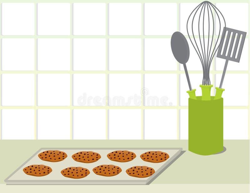 Plateau de biscuit sur le compteur illustration stock
