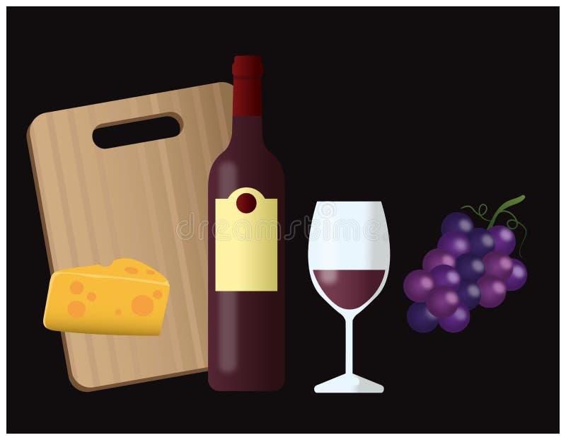 Plateau de vin et de fromage illustration de vecteur