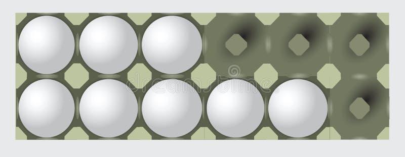Plateau inachevé d'oeufs illustration de vecteur