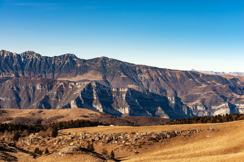 Plateau of Lessinia and Monte Baldo - Veneto Italy. Monte Baldo and Plateau of Lessinia, Regional Natural Park, Italian Alps near Verona and lake Garda, Veneto royalty free stock photos