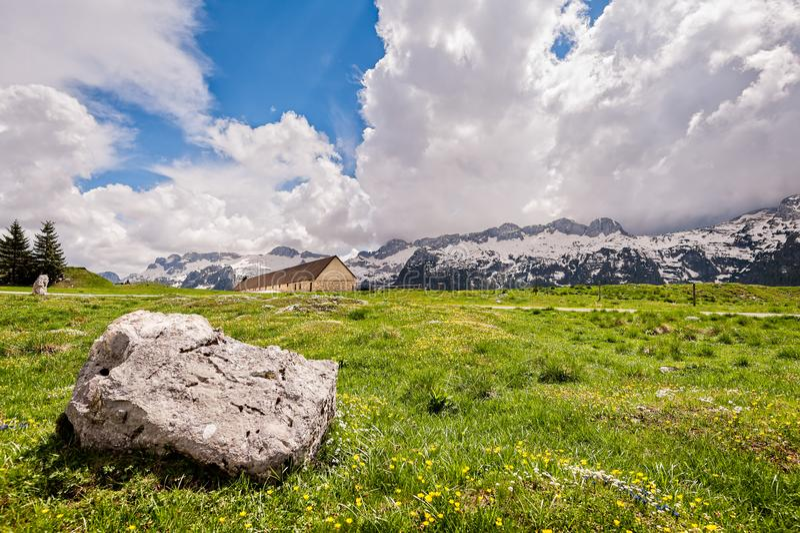 Plateau of Montasio. Mountain range landscape. Mountain range landscape. Plateau of Montasio, Italian Alps royalty free stock images