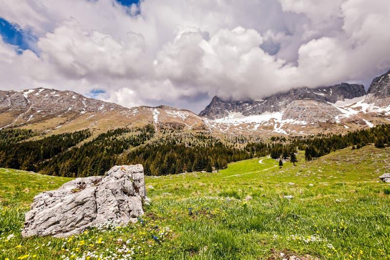 Plateau of Montasio. Mountain range landscape. Mountain range landscape. Plateau of Montasio, Italian Alps stock photo