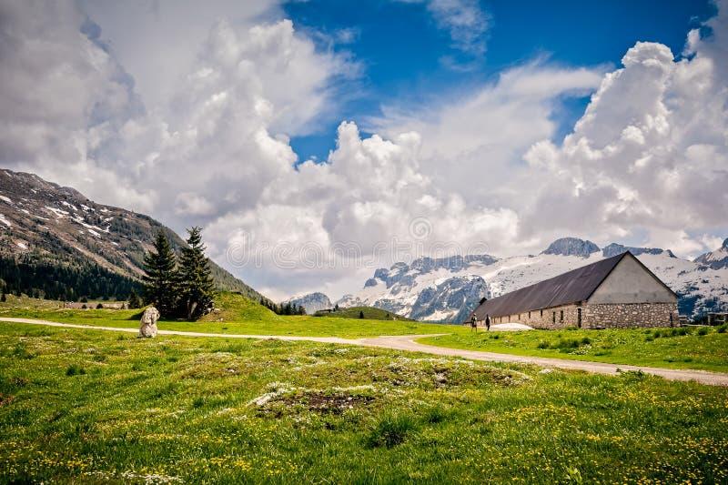 Plateau of Montasio. Mountain range landscape. Mountain range landscape. Plateau of Montasio, Italian Alps stock photography