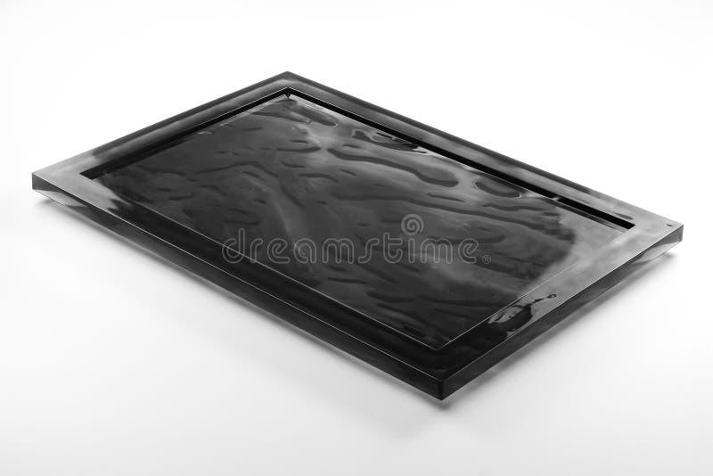 Plateau noir rectangulaire de plexiglass photo stock