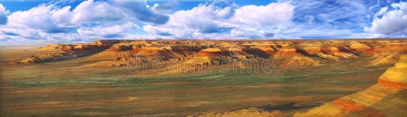 Plateau Ustyurt di panorama in Kazakhstan fotografia stock
