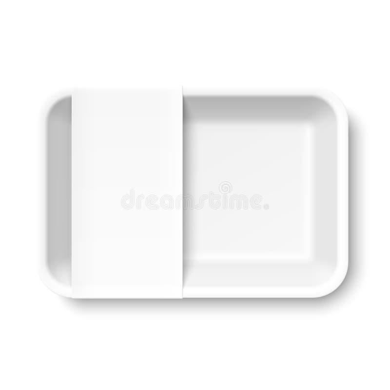 Plateau vide blanc de nourriture de mousse de styrol avec le label vide illustration libre de droits