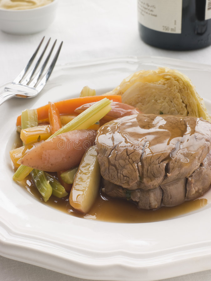Plated Fillet of Beef a la Ficelle royalty free stock images