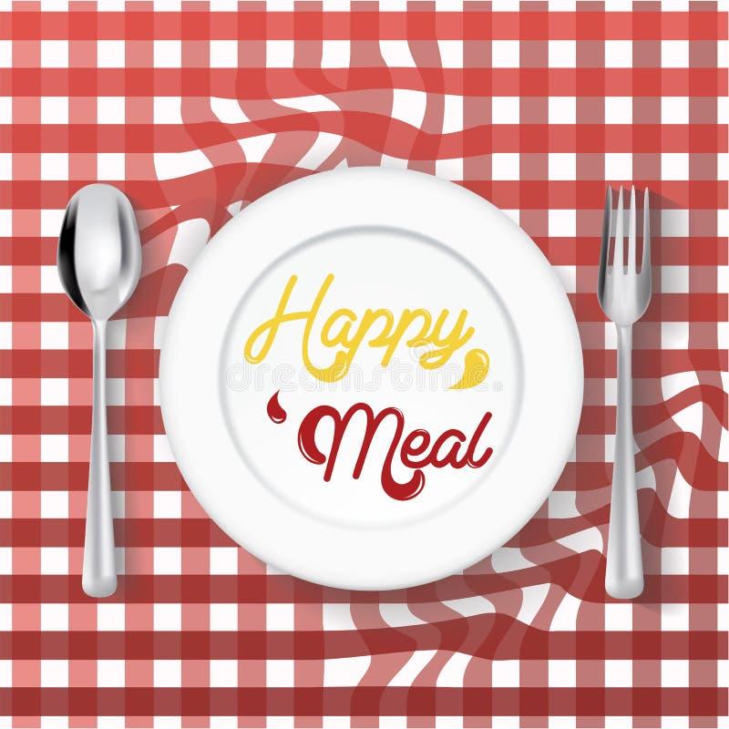 Platee el plato con la bifurcación en el fondo blanco, concepto feliz de la comida fotografía de archivo libre de regalías