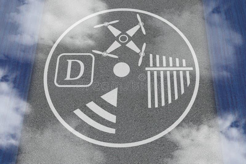Plateforme d'atterrissage de bourdon Concept du droneport ou la tache ou le bureau pour exploiter l'UAV Béton avec des marques po images stock