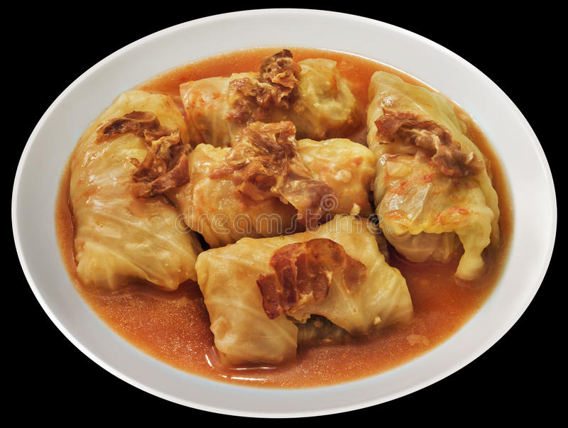 Plateful Of Serbian Traditional Dish Sarma Made Of Pickled Cabbage Rolls Stuffed With Minced Meat Isolated On Black Background royalty free stock photos