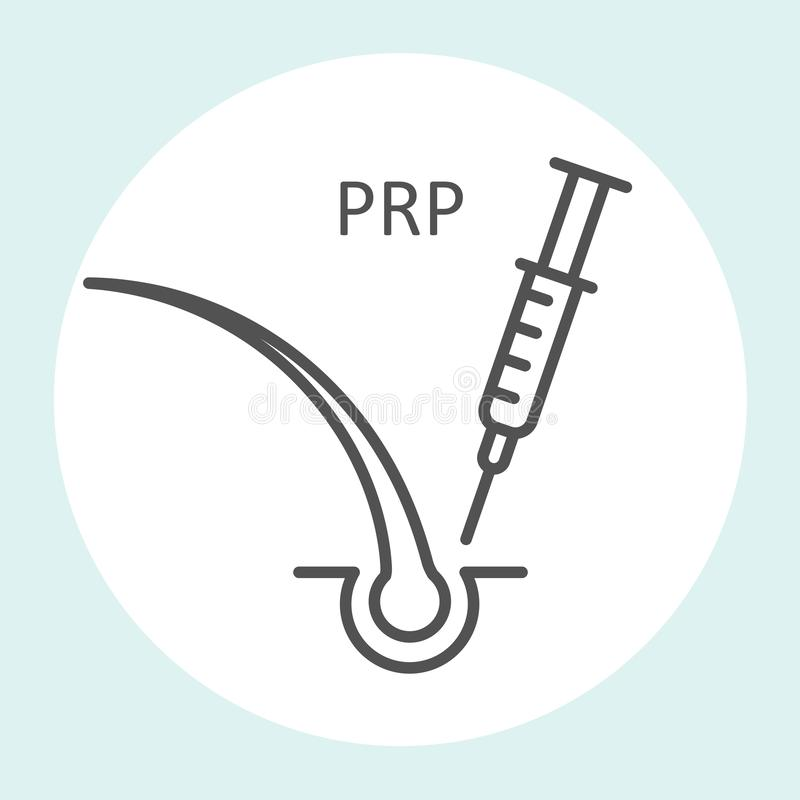Platelet rich plasma icon, prp therapy, stop hair loss - syringe and hair royalty free illustration