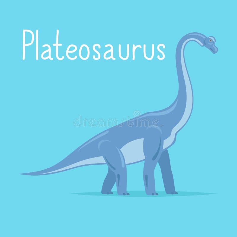 Plateosaurusdinosauriekort stock illustrationer
