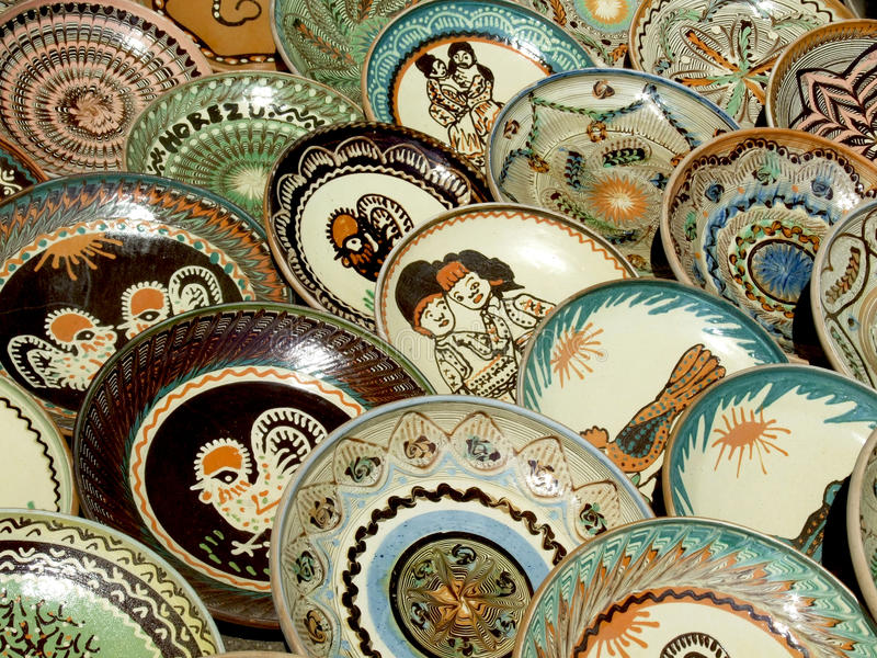 Plates. A lot of plates exposed on market stock image