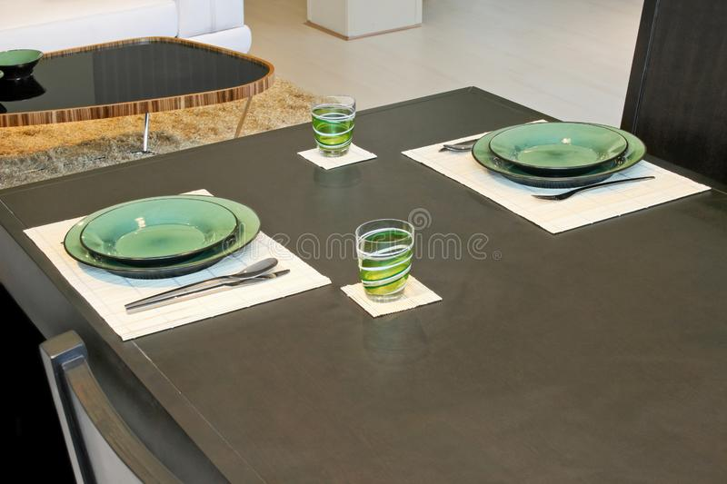 Download Plates stock photo. Image of table, plates, black, architecture - 4090670