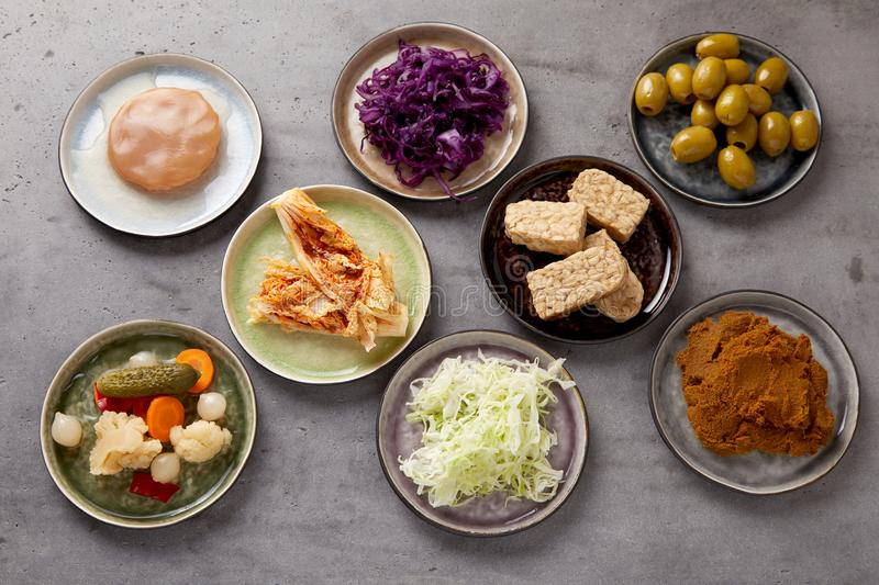 Plates with assorted fermented foods. For a healthy diet, gut and immune system in a flat lay still life over a grey background royalty free stock photo