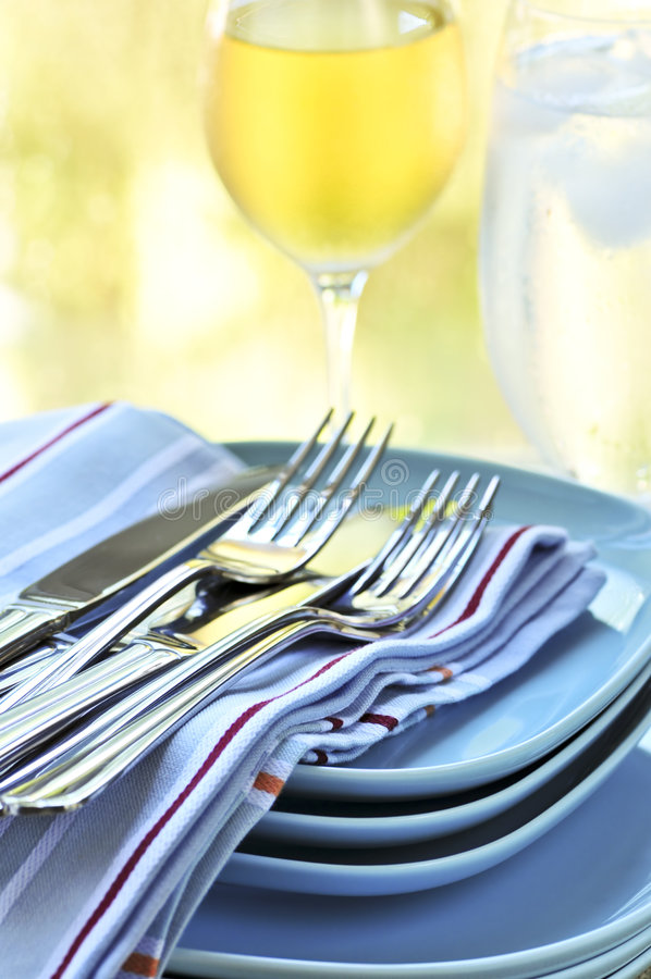 Download Plates and cutlery stock image. Image of glassware, linen - 7270929