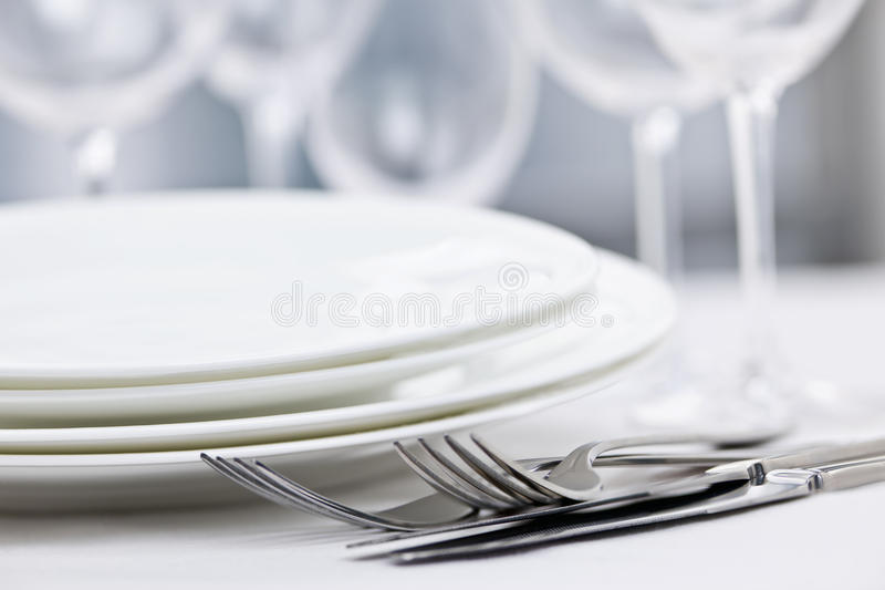 Plates and cutlery stock images