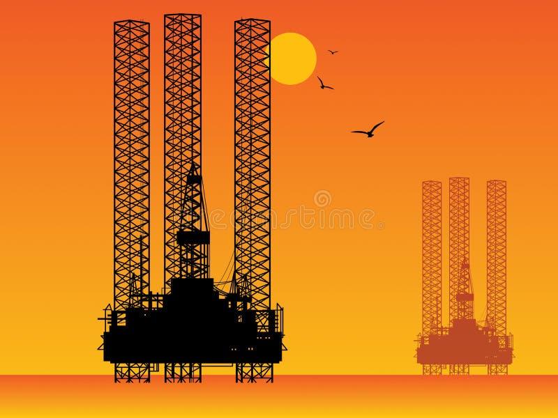 Plates-formes de perçage de plate-forme pétrolière illustration libre de droits