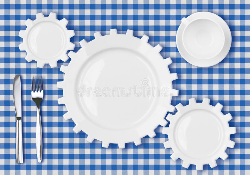 Plates Gears Work Concept. Dinner Dishes Over Tablecloth. Royalty Free Stock Images