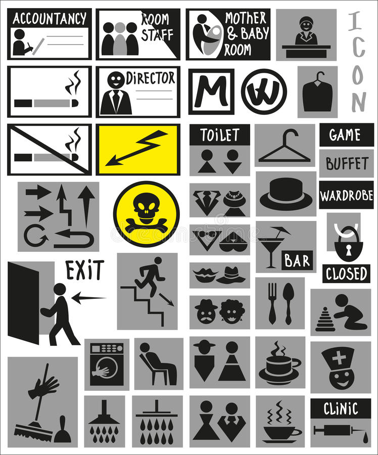 Plates. Image of various labels, signs, icons doors vector illustration