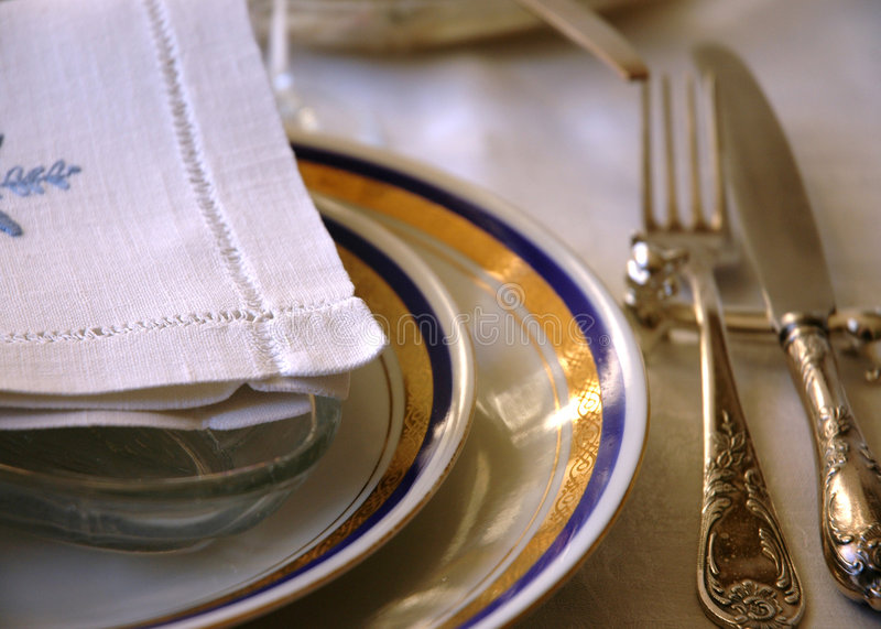 Plates with serviete stock photos